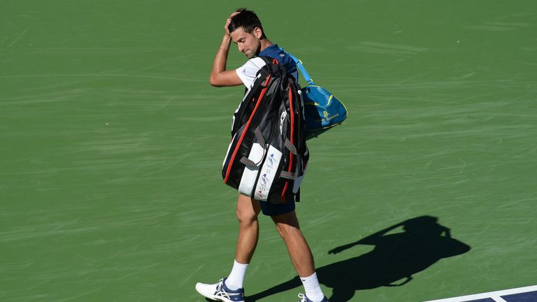 Novak Djokovic Indian Wells 2018 - Taro Daniel's tennis racquet